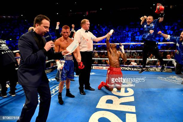 Maurice Hooker celebrates winning the WBO SuperLightweight World Title after victory against Terry Flanagan during there vacant WBO superlightweight...