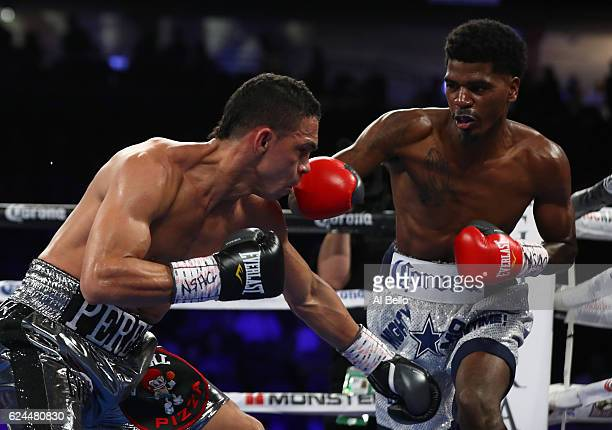 Maurice Hooker fires a right at opponent Darleys Perez of Colombia during their junior welterweights bout at TMobile Arena on November 19 2016 in Las...