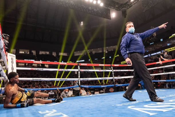 Maurice Hooker is down for the count during the WBO international welterweight championship fight at Dickies Arena on March 20, 2021 in Fort Worth,...