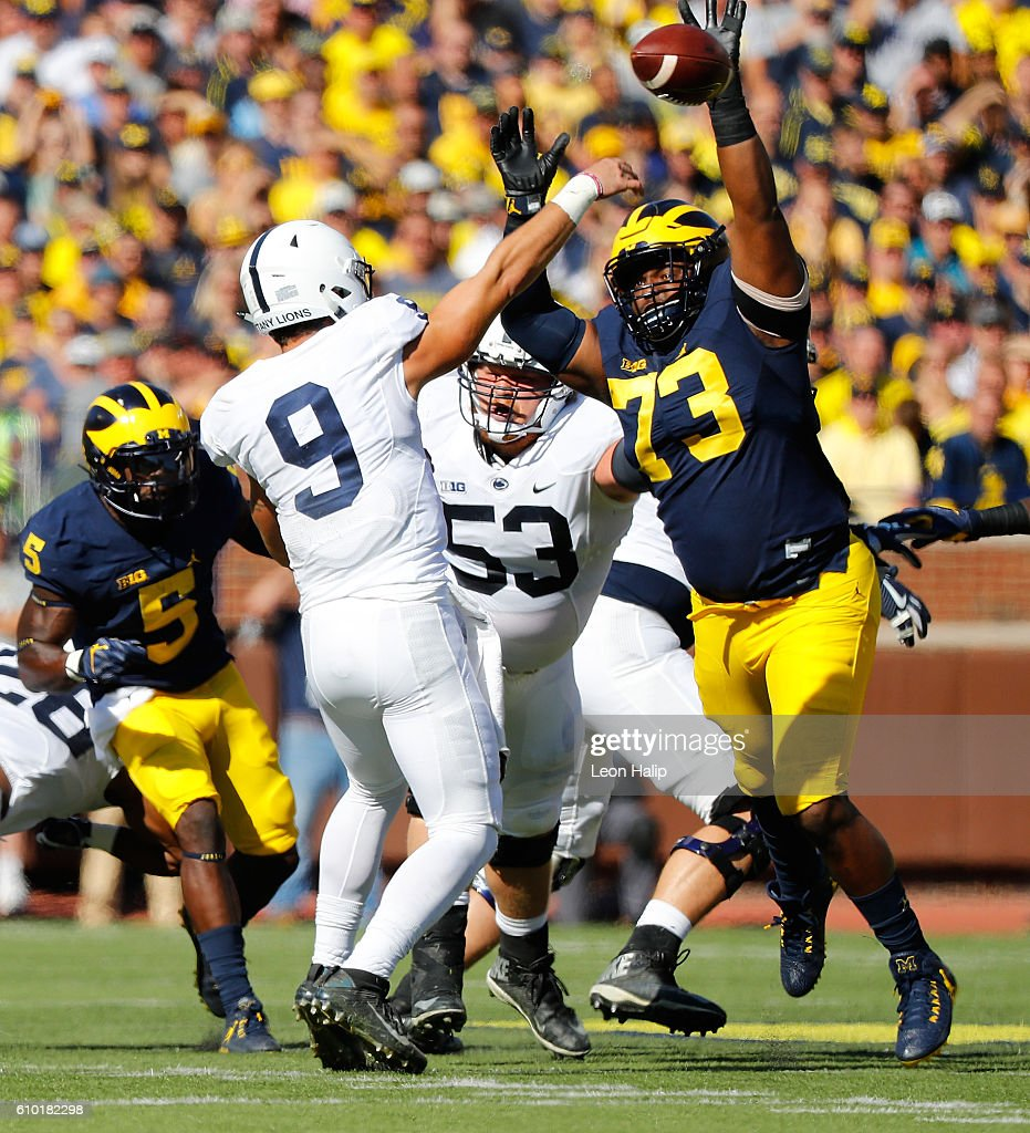 Maurice Hurst #73 of the Michigan Wolverines rushes quarterback Trace McSorley #9 of the Penn State Nittany Lions during the first quarter of the game at Michigan Stadium on September 24, 2016 in Ann Arbor, Michigan.