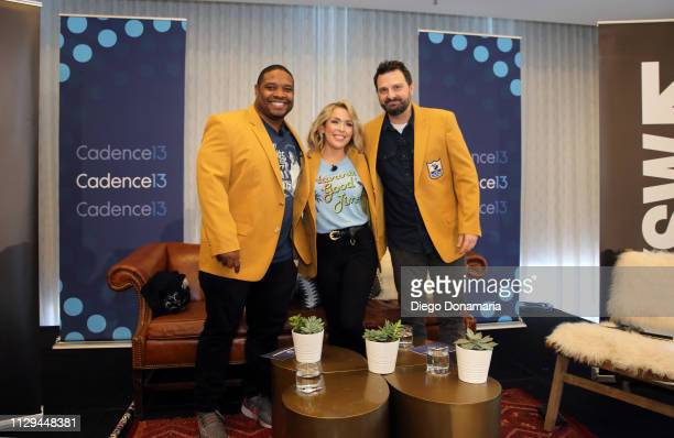 Maurice Jones-Drew, Colleen Wolfe, and Dave Dameshek attend The Dave Dameshek Football Program Podcast during the 2019 SXSW Conference and Festivals...