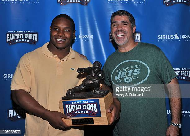 Maurice JonesDrew of the Jacksonville Jaguars and Gary Dell'Abate of The Howard Stern Show attends the Sirius XM Fantasy Sports Radio launch at the...