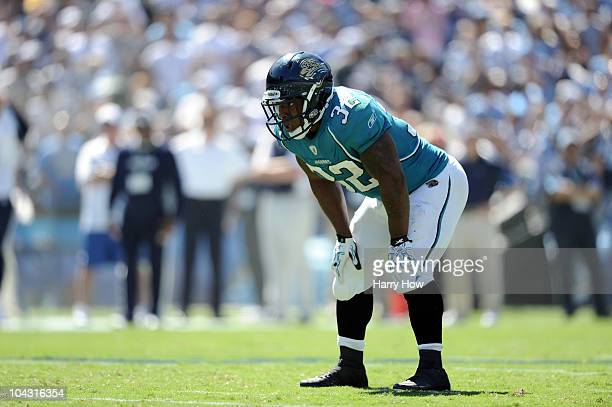 Maurice Jones-Drew of the Jacksonville Jaguars lines up against the San Diego Chargers during the second quarter at Qualcomm Stadium on September 19,...