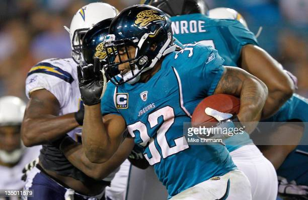 Maurice JonesDrew of the Jacksonville Jaguars rushes during a game against the San Diego Chargers at EverBank Field on December 5 2011 in...