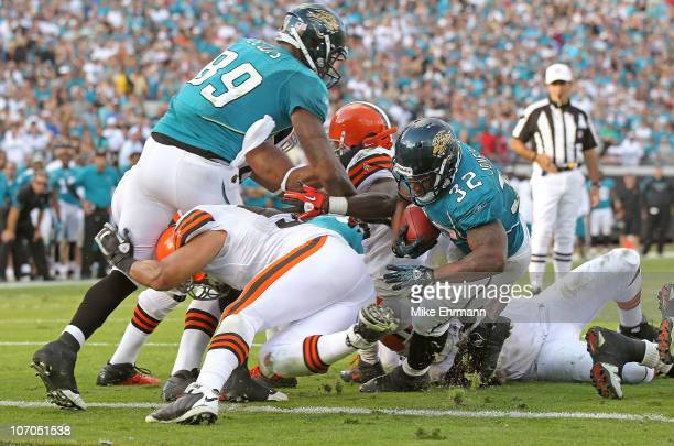 Maurice JonesDrew of the Jacksonville Jaguars scores the winning touchdown during a game against the Cleveland Browns at EverBank Field on November...