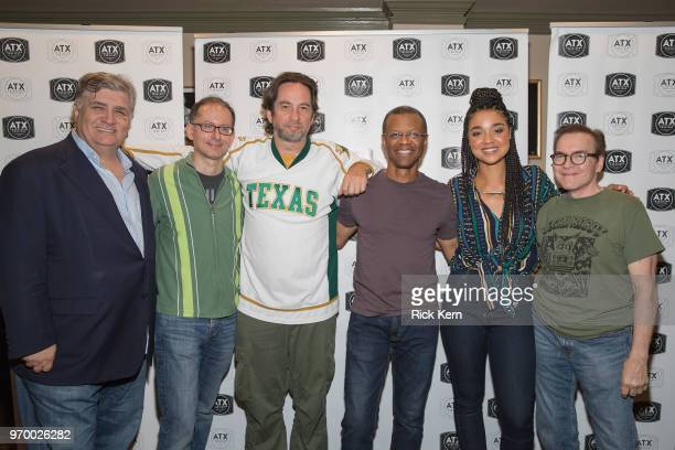 Maurice LaMarche David X Cohen Dave Herman Phil LaMarr Aisha Dee and Billy West attend the Futurama TableRead Reunion presented by Hulu during the...
