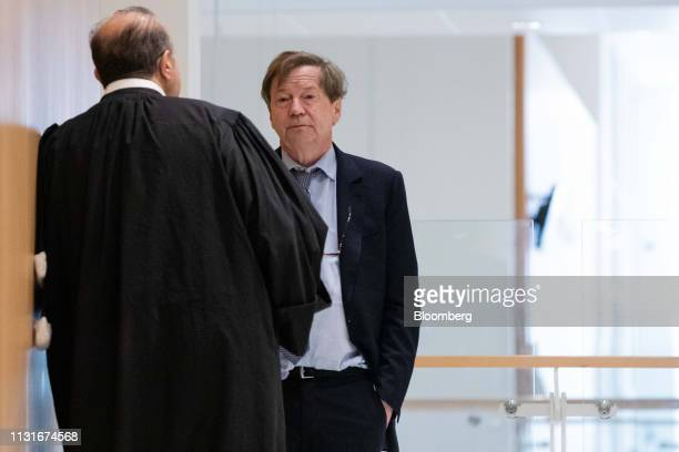 Maurice Lantourne a former lawyer for French businessman Bernard Tapie right speaks with Herve Temime lawyer in the hallway at Porte de Clichy...