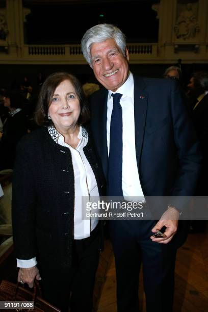 Maurice Levy and his wife Raquel attend the Tribute to ELie Wiesel by Maurice Levy X Publicis Group at La Sorbonne on January 29 2018 in Paris France