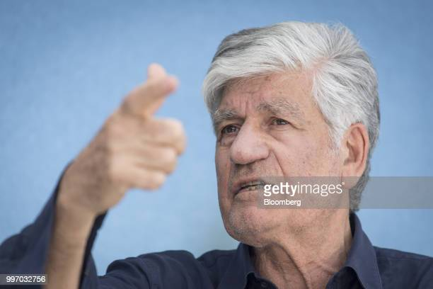 Maurice Levy chairman of the supervisory board of Publicis Groupe SA speaks during a Bloomberg Television interview at the Allen Co Media and...
