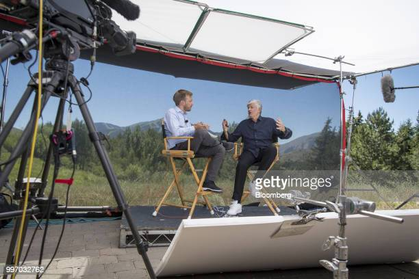 Maurice Levy chairman of the supervisory board of Publicis Groupe SA right speaks during a Bloomberg Television interview at the Allen Co Media and...