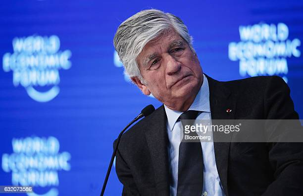 Maurice Levy chief executive officer of Publicis Group SA looks on during a panel session at the World Economic Forum in Davos Switzerland on...