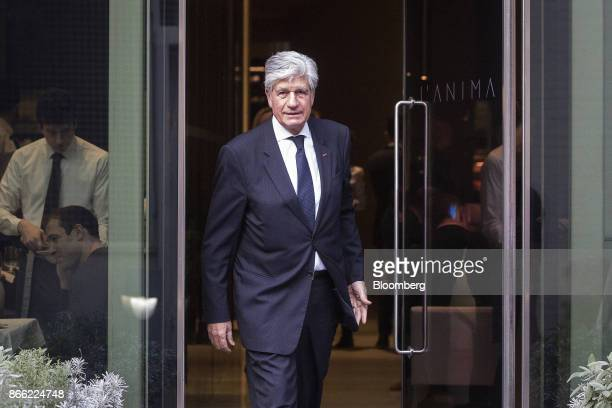 Maurice Levy chief executive officer of Publicis Groupe SA leaves following a Bloomberg Television interview on the 'Leaders Lunch' show in London UK...