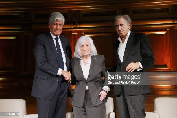 Maurice Levy Widow of Elie Wiesel Marion Wiesel and BernardHenri Levy attend the Tribute to ELie Wiesel by Maurice Levy X Publicis Group at 'La...