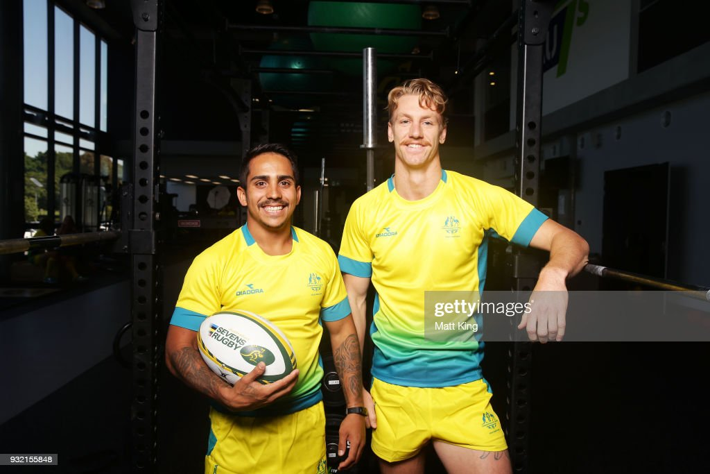 Maurice Longbottom (L) and Ben OÕDonnell (R) of the Australian Men's Rugby Sevens team pose during the Australian Rugby Sevens Commonwealth Games Teams Announcement at the Rugby Australia building on March 15, 2018 in Sydney, Australia.