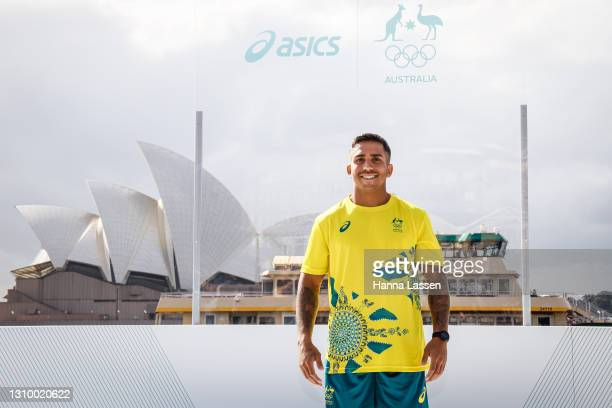 Maurice Longbottom poses during the Australian Olympic Team Tokyo 2020 uniform unveiling at the Overseas Passenger Terminal on March 31, 2021 in...