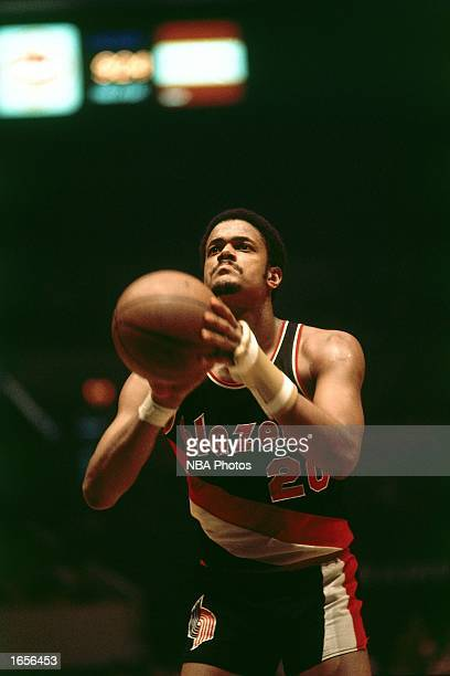 Maurice Lucas of the Portland Trail Blazers takes a free throw during the 1970 NBA game against the New York Knicks at Madison Square Garden in New...