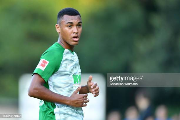 Maurice Malone of Augsburg looks on during the preseason friendly match between SC Olching and FC Augsburg on July 19 2018 in Olching Germany