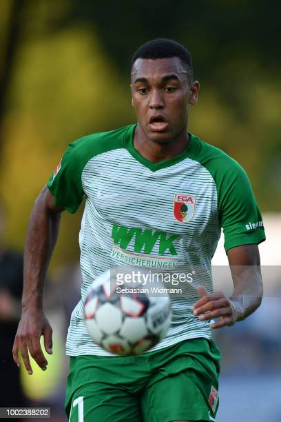 Maurice Malone of Augsburg plays the ball during the preseason friendly match between SC Olching and FC Augsburg on July 19 2018 in Olching Germany