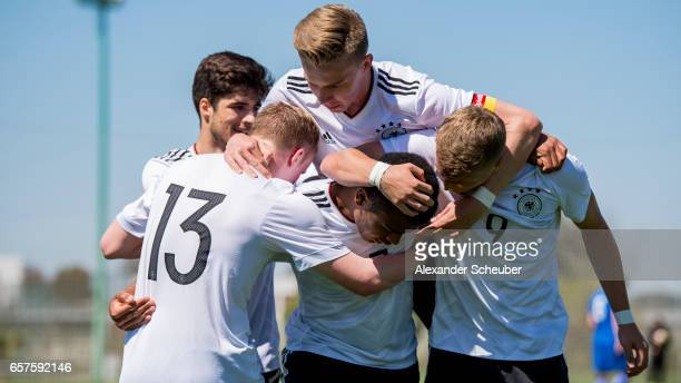 Maurice Malone of Germany celebrates his goal with his teammates during the UEFA U17 elite round match between Germany and Finland on March 25 2017...