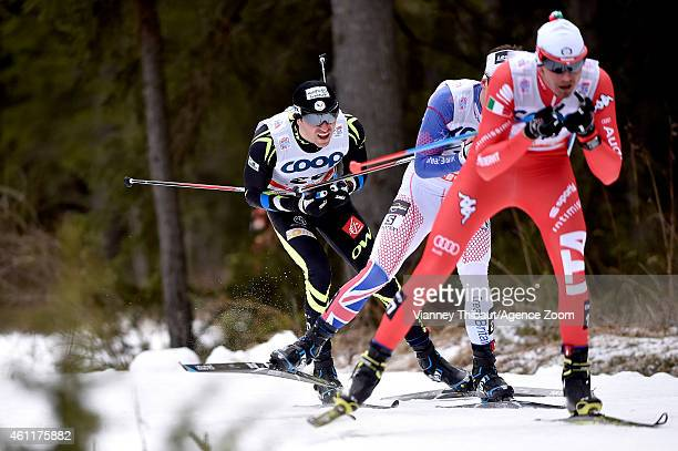 Maurice Manificat of France Andrew Musgrave of Great Britain compete during the FIS CrossCountry World Cup Men's and Women's Pursuit on January 08...