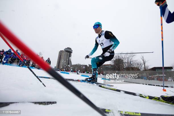 Maurice Manificat of France competes in the sprint quarterfinal heat during the FIS Cross Country Ski World Cup Final on March 22 2019 in Quebec City...