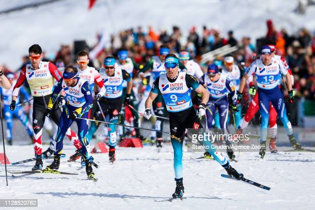 Maurice Manificat of France in action during the FIS Nordic World Ski Championships Men's Cross Country Mass Start on March 3, 2019 in Seefeld,...