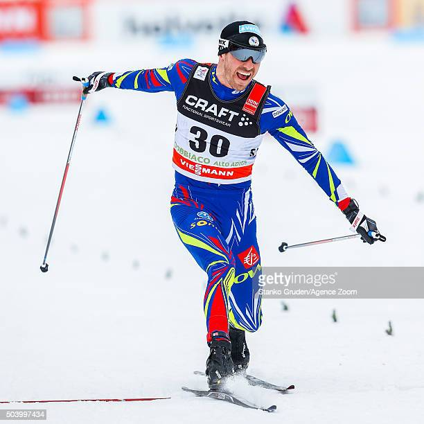 Maurice Manificat of France takes 3rd place during the FIS Nordic World Cup Men's and Women's Cross Country Tour de Ski on January 8 2016 in Toblach...
