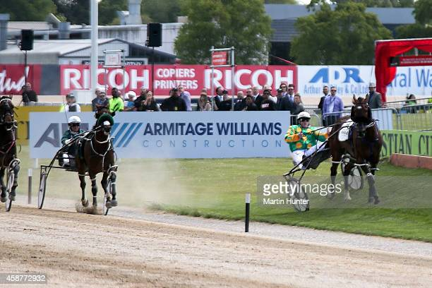 Maurice McKendry trys to control his horse Hughie Green during race 7 Sires Stakes Final at the Christchurch New Zealand Trotting Cup at Addington...