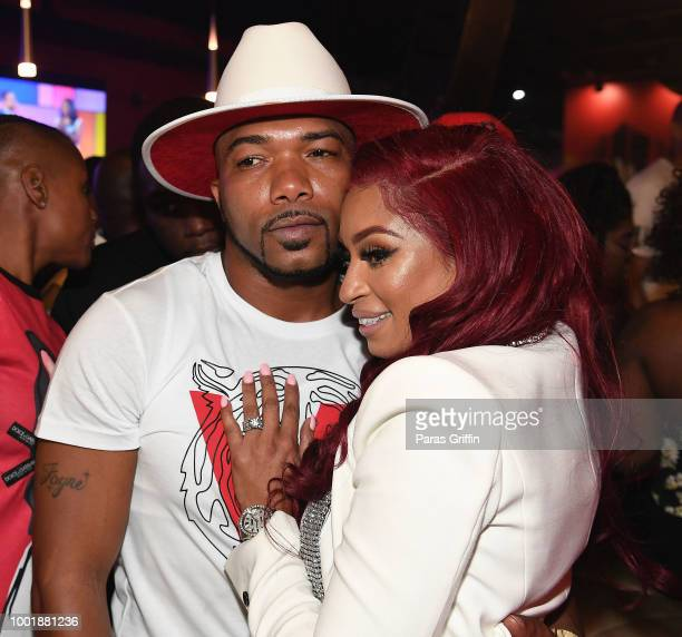 Maurice Mo Fayne and Karlie Redd attend Ferrari Karlie Single Release Party at Buckhead Loft on July 18 2018 in Atlanta Georgia