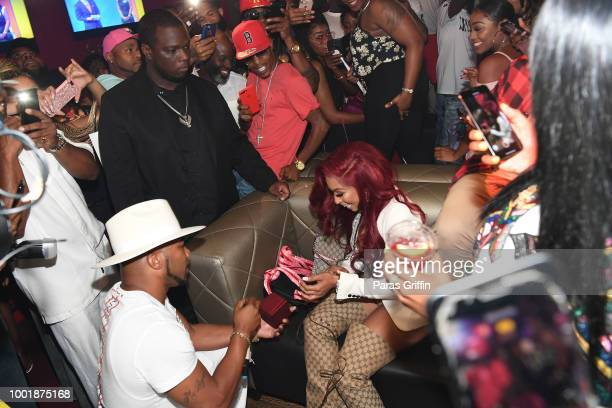 Maurice Mo Fayne surprises Karlie Redd with an engagment ring at Ferrari Karlie Single Release Party at Buckhead Loft on July 18 2018 in Atlanta...