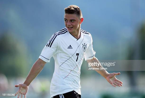 Maurice Multhaupt of Germany celebrates after scoring his team's 3rd goal during the UEFA International Toto Cup 2012 match between U17 Germany and...