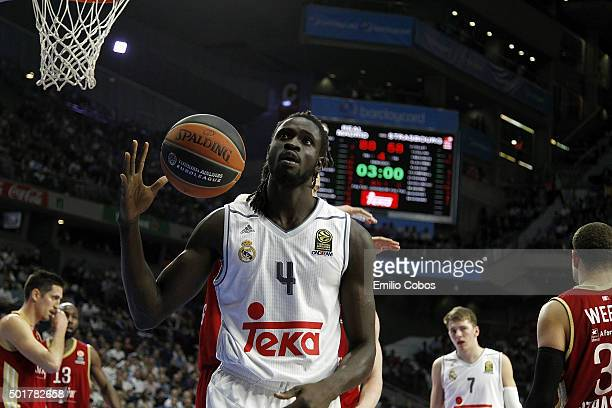 Maurice Ndour #4 of Real Madrid in action during the Turkish Airlines Euroleague Basketball Regular Season Round 10 game between Real Madrid v...