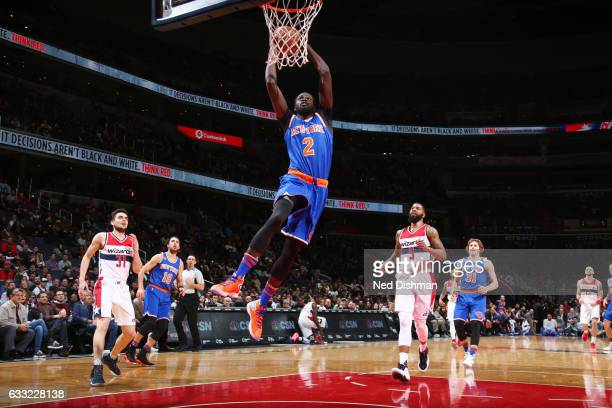 Maurice Ndour of the New York Knicks dunks against the Washington Wizards on January 31 2017 at Verizon Center in Washington DC NOTE TO USER User...