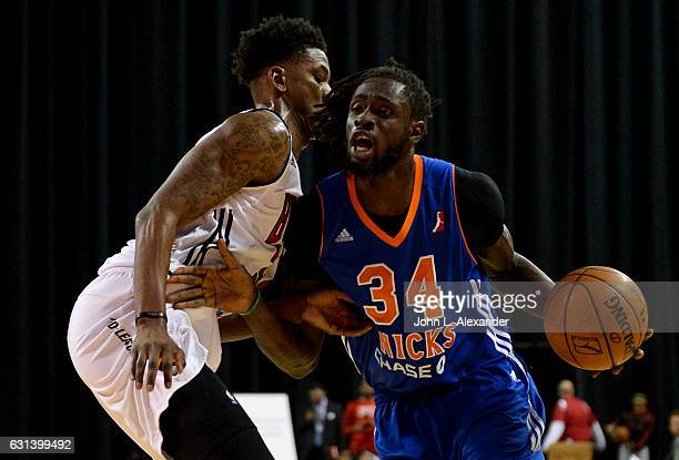 Maurice Ndour of the Westchester Knick drives to the basket against the Windy City Bulls on January 06 2017 at the Sears Centre Arena in Hoffman...