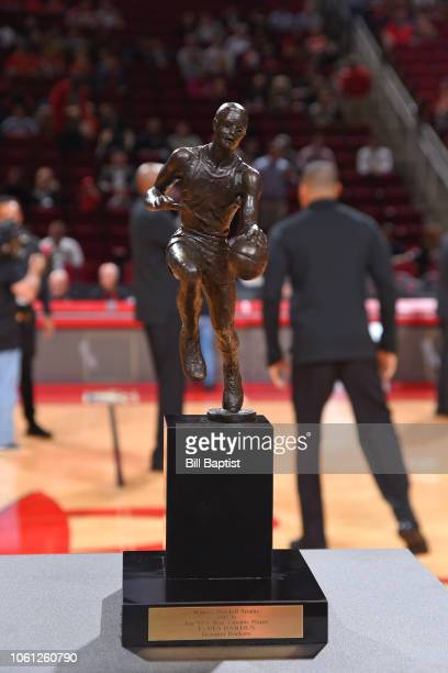 Maurice Podoloff Trophy is presented to James Harden of the Houston Rockets during a game on October 17, 2018 at Toyota Center, in Houston, Texas....
