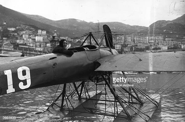 Maurice Prevost sitting in a Monocoque Deperdussin monoplane converted into a seaplane The craft won the first Schneider Trophy race at Monaco The...
