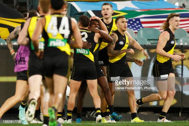 Maurice Rioli of the Tigers celebrates a goal during the round 21 AFL match between Richmond Tigers and North Melbourne Kangaroos at Melbourne...