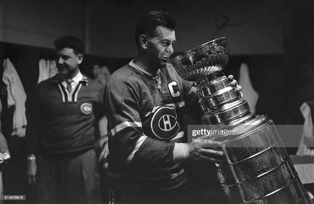 Maurice Richard Holding Stanley Cup : News Photo