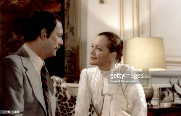 Maurice Ronet and Romy Schneider on the set of 'Bloodline' directed by Terence Young 1979