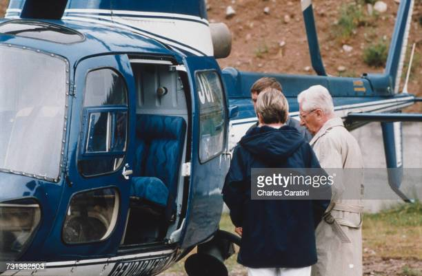 Maurice Simon, judge in the Grégory Villemin murder case, takes a flight in a police helicopter over the crime scene at the Vologne River, Gerardmer,...