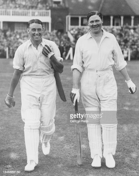 Maurice Tate and Percy Chapman of England walk out to bat against Australia during the 1st innings of the 3rd Test match of the England versus...