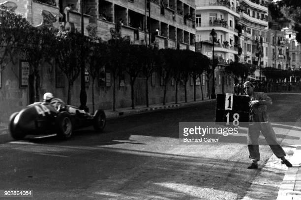 Maurice Trintignant Ferrari 625 Grand Prix of Monaco Circuit de Monaco 22 May 1955 Maurice Trintignant on the way to victory in the 1955 Monaco Grand...
