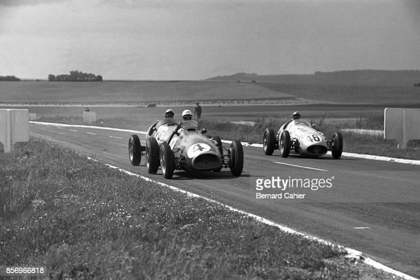 Maurice Trintignant Jean Behra Prince Bira Ferrari 625 Gordini T16 Maserati 250F Grand Prix of France ReimsGueux 04 July 1954