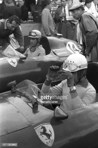 Maurice Trintignant Luigi Musso Ferrari 801 Grand Prix of Great Britain Aintree Motor Racing Circuit 20 July 1957 Ferrari teammates Maurice...