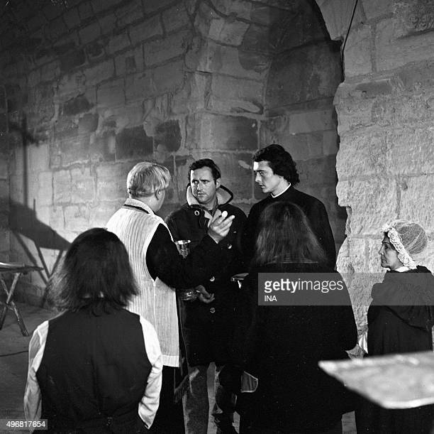 Maurice Villiod Michel Drach and Bernard Tiphaine on the shooting of the serial The companions of Jehu