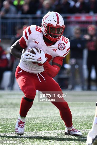 Maurice Washington of the Nebraska Cornhuskers runs with the ball against the Ohio State Buckeyes at Ohio Stadium on November 3 2018 in Columbus Ohio