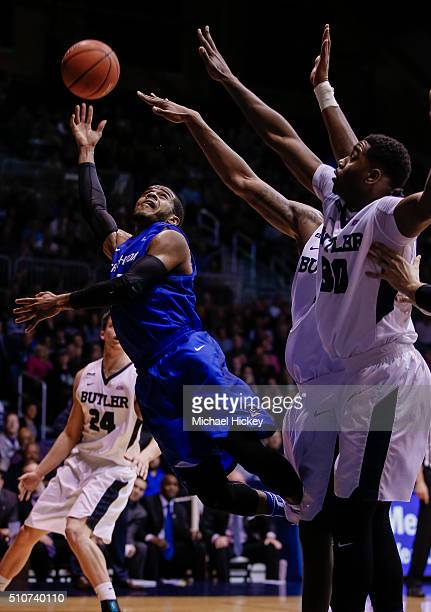 Maurice Watson Jr. #10 of the Creighton Bluejays shoots the ball against Kelan Martin of the Butler Bulldogs at Hinkle Fieldhouse on February 16,...