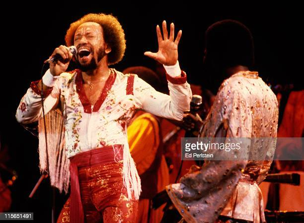 Maurice White performs with Earth Wind and Fire at the Oakland Coliseum in Oakland California December 1 1979