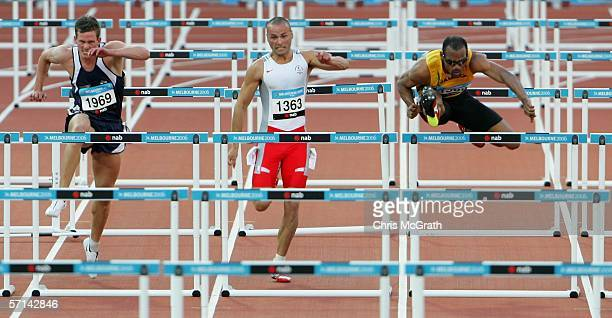 Maurice Wignall of Jamaica competes in the Men's 110m Hurdles Final at the athletics during day six of the Melbourne 2006 Commonwealth Games at the...