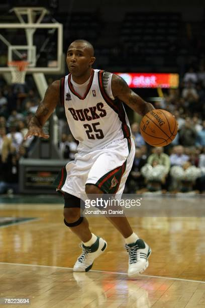 Maurice Williams of the Milwaukee Bucks handles the ball during the game against the Memphis Grizzlies on November 14 2007 at the Bradley Center in...